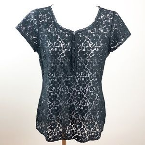 WHBM Sheer Floral Lace Blouse with Ruffle Trim